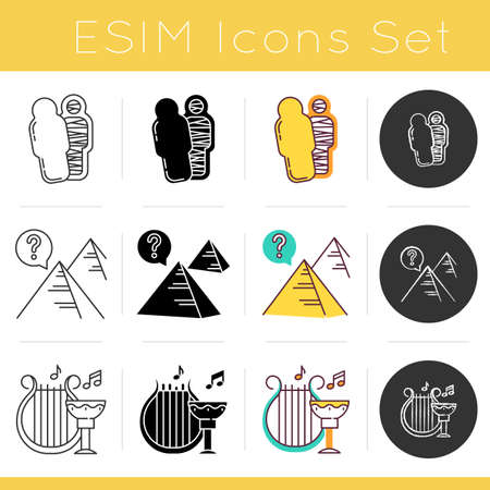 Archeology icons set. Mummy in sarcophagus. Pyramid secrets. Egyptian myths. Ancient culture and life. Pharaoh tomb. Flat design, linear, black and color styles. Isolated vector illustrations