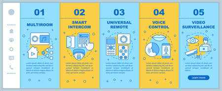 Smart home onboarding mobile web pages vector template. Automation systems Responsive smartphone website interface idea with linear illustrations. Webpage walkthrough step screens. Color concept Vektorové ilustrace