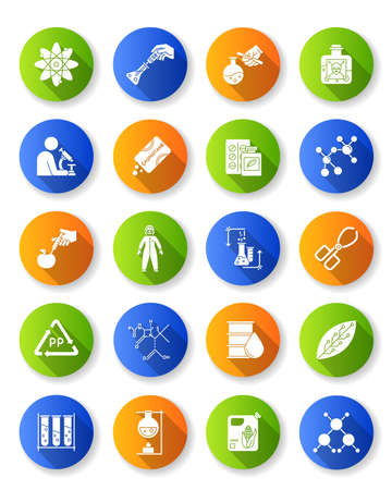 Science and nature interaction flat design long shadow glyph icons set. Biotechnology equipment. Experiment method. Products synthesis. Organic chemistry research. Vector silhouette illustration Illustration