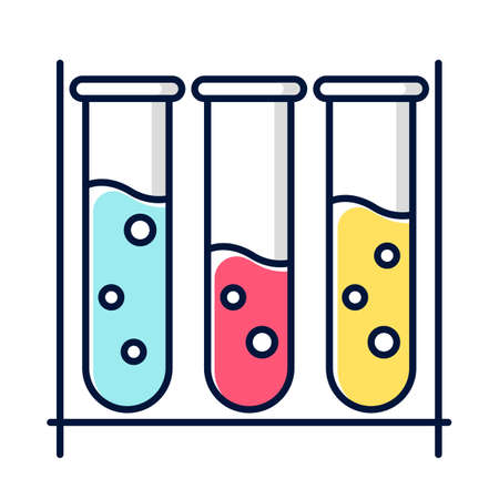 Blue, red and yellow test tubes color icon. Organic chemistry. Conducting experiment. Laboratory work. Interaction with chemicals. Scientific research, practice. Isolated vector illustration Ilustração