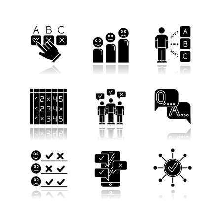 Survey drop shadow black glyph icons set. Choosing checkbox. Correct, wrong answer. Satisfaction level. Positive, negative feedback. Mass survey. Online poll. FAQ sign. Isolated vector illustrations