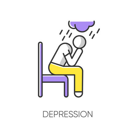 Depression color icon. Sad and worried man. Low mood. Crying person. Chronic exhaustion and fatigue. Frustration and stress. Emotional pressure. Mental disorder. Isolated vector illustration