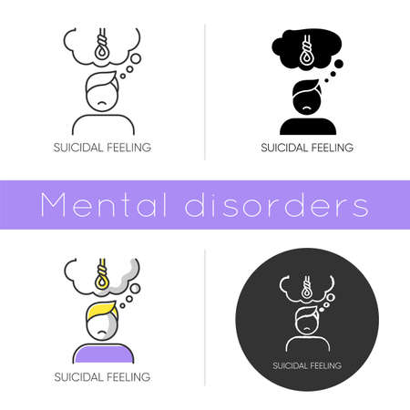 Suicidal feeling icon. Depressive thoughts. Vulnerable person. Pain and worry. Anxiety. Death attempt prevention. Mental health. Flat design, linear and color styles. Isolated vector illustrations Illustration