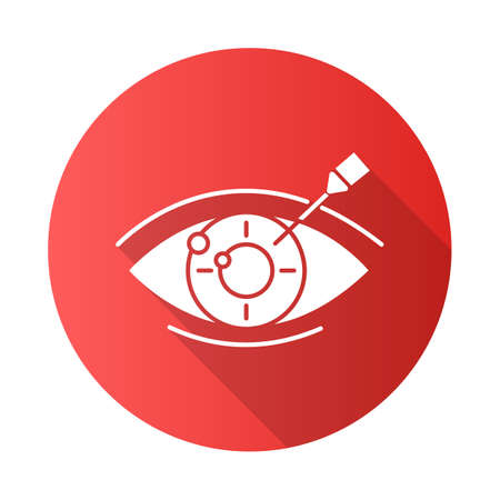 Vision correction red flat design long shadow glyph icon. Medical procedure. Health care. Astigmatism treatment. Ophthalmology. Laser operation. Eye disorder recovery. Vector silhouette illustration