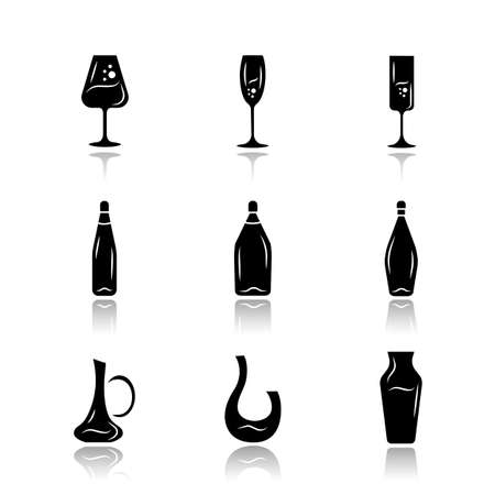 Winery glassware drop shadow black glyph icons set. Different types of wine. Decanters, bottles, glasses. Aperitif drinks, cocktails, alcohol beverages. Isolated vector illustrations