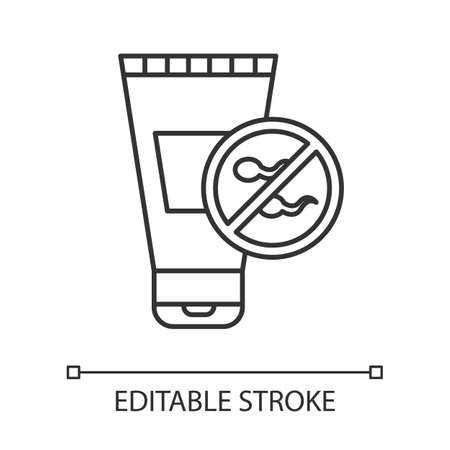 Spermicide linear icon. Preservative. Contraceptive for unwanted pregnancy prevention. Lubricant. Safe sex. Thin line illustration. Contour symbol. Vector isolated outline drawing. Editable stroke