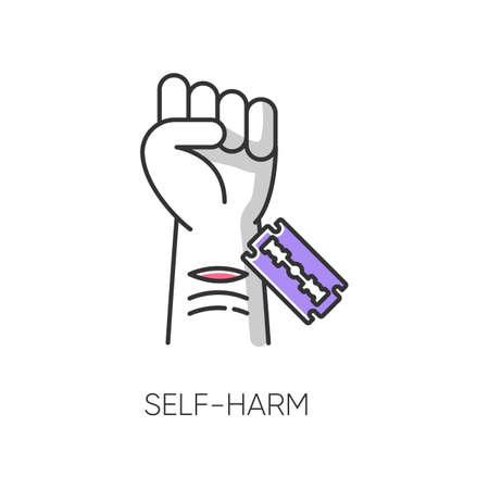 Icono de color de autolesión. Cortar la mano con una hoja de afeitar. Herida abierta. Trastorno mental. Problema psicológico. Lesión no suicida. Vena lastimada. Violencia autoinfligida. Ilustración de vector aislado