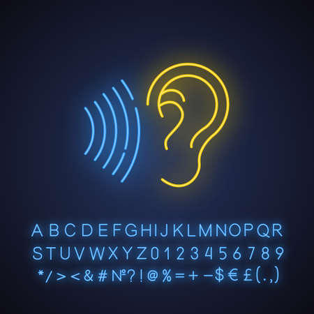 Sound signal neon light icon. Audible soundwave. Listening ear. Loud noise perception. Voice call, sound susceptibility. Glowing sign with alphabet, numbers and symbols. Vector isolated illustration