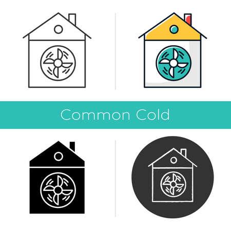 Hauslüftungssymbol. Konditionierung nach Hause. Reinigen Sie Keime und Mikroben. Staubbelüftungssystem. Ventilator. Lüftungsöffnung für zu Hause. Flaches Design, lineare und Farbstile. Isolierte Vektorillustrationen