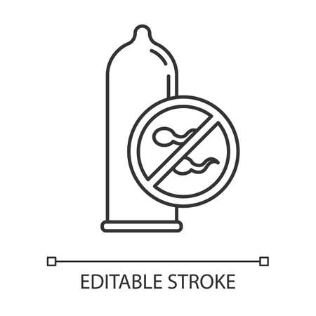 Condom linear icon. Male latex contraceptive. Sperm block. Pregnancy prevention. Safe sex. STI protection. Thin line illustration. Contour symbol. Vector isolated outline drawing. Editable stroke