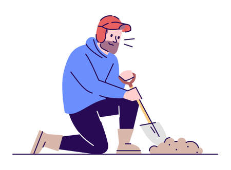 Digging archaeologist flat vector illustration. Archeological research. Treasure hunter in working process. Caucasian bearded man with sapper shovel cartoon character with outline on white background