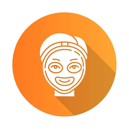 Cosmetology orange flat design long shadow glyph icon. Spa facial treatment. Medical procedure. Face female mask for rejuvenation. Skincare and healthcare. Beauty salon. Vector silhouette illustration Ilustração