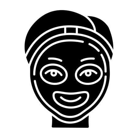 Cosmetology glyph icon. Spa facial treatment. Medical procedure. Face mask for rejuvenation. Skincare and healthcare. Beauty salon. Silhouette symbol. Negative space. Vector isolated illustration Banco de Imagens - 136223899