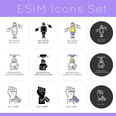 Mental disorder icons set. Anti-social behaviour. Predmenstrual disphoria. Self-harm. Bullying and harrassment. Cut vein. Flat design, linear, black and color styles. Isolated vector illustrations Illustration