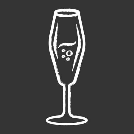 Flute wineglass chalk icon. Sparkling wine, champagne. Alcohol beverage with bubbles. Sweet aperitif drink. Tableware, glassware. Bar, restaurant. Isolated vector chalkboard illustration Vettoriali
