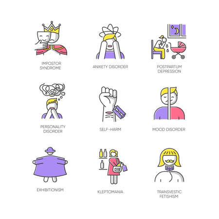 Conjunto de iconos de colores de trastorno mental. Sindrome impostor. Ansiedad. Depresión post-parto. Trastorno de personalidad y estado de ánimo. Autolesiones. Exhibicionismo. Cleptomanía. Fetichismo. Ilustraciones vectoriales aisladas