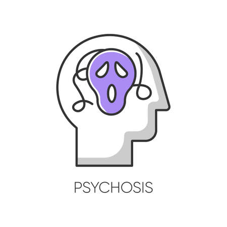 Psychosis color icon. Paranoid and scared person. Confused mind. Fear. Phobia and anxiety. Schizophrenia. Depression and stress. Mental disorder. Psychiatry. Isolated vector illustration