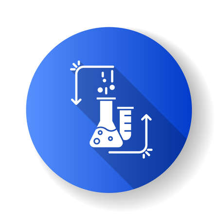 Chemical reaction in lab flask blue flat design long shadow glyph icon. Organic chemistry. Conducting experiment. Laboratory work. Interaction with chemicals. Vector silhouette illustration Ilustração Vetorial