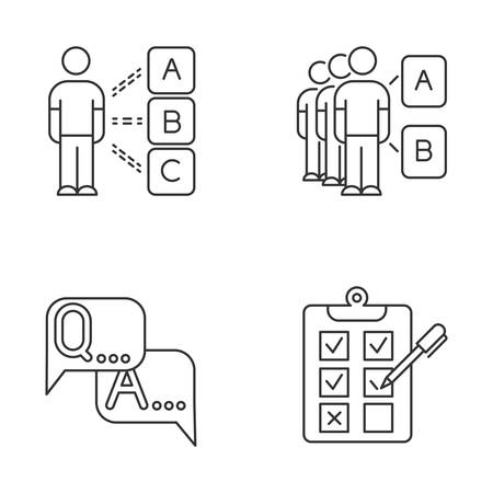 Survey linear icons set. Personal questioning. Mass poll. Group test. FAQ sign. Question, answer. Written checklist. Thin line contour symbols. Isolated vector outline illustrations. Editable stroke