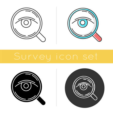 Analysis icon. Public opinion. Research. Consumer review. Customer satisfaction. Feedback. Evaluation. Observation. Glyph design, linear, chalk and color styles. Isolated vector illustrations Иллюстрация