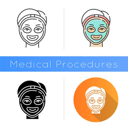 Cosmetology icon. Spa facial treatment. Medical procedure. Face female mask for rejuvenation. Skincare and healthcare. Beauty salon. Flat design, linear and color styles. Isolated vector illustrations Ilustração