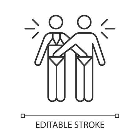 Gegenseitiges lineares Symbol. Paar Aktivität. Mann und Frau. Erotisches Spiel mit Partner. Sicherer Sex. Dünne Linie Abbildung. Kontursymbol. Vektor isolierte Umrisszeichnung. Bearbeitbarer Strich Vektorgrafik