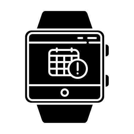 Scheduling events smartwatch function glyph icon. Fitness wristband capability. Calendar and timetable. Planning and time management. Silhouette symbol. Negative space. Vector isolated illustration Illustration