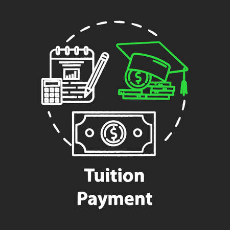 Tuition payment chalk concept icon. Education cost. Financial grant. Knowledge investment. Counting college savings fund idea. Vector isolated chalkboard illustration