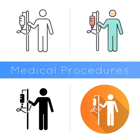 Dropper icon. Medical procedure. Healthcare services. Patient with drip. Hospitalization. Infusion. Postsurgical care. Recovery. Flat design, linear and color styles. Isolated vector illustrations
