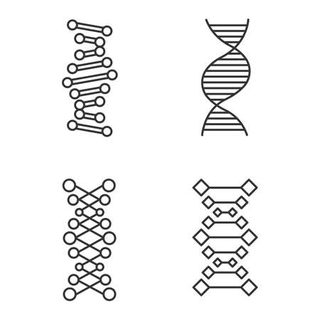 DNA chains linear icons set. Deoxyribonucleic, nucleic acid helix. Molecular biology. Genetic code. Genetics. Thin line contour symbols. Isolated vector outline illustrations. Editable stroke
