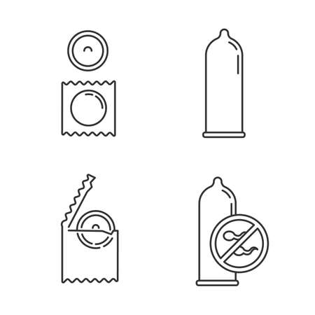 Contraceptive linear icons set. Safe sex. Male condom in package. Preservative. Birth control. Pregnancy prevention. Thin line contour symbols. Isolated vector outline illustrations. Editable stroke