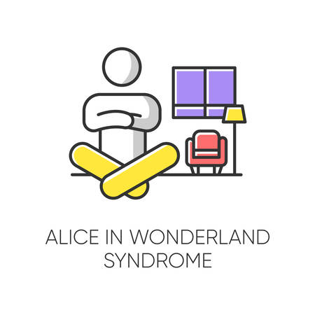 Alice in wonderland syndrome color icon. Visual perception. Size distortion. Dysmetropsia. Impaired vision and disorientation. Rare mental disorder. Clinical psychology. Isolated vector illustration