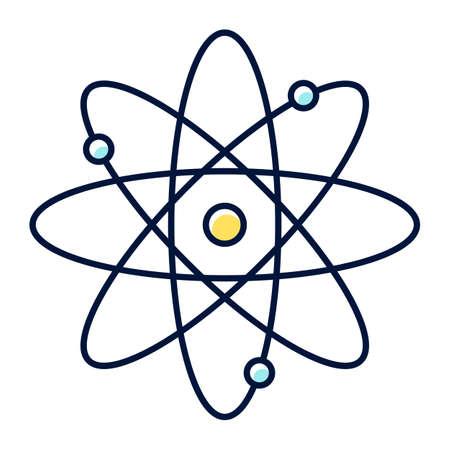 Molekül-Atom-Farbsymbol. Kernenergiequelle. Atomkern mit Elektronenbahnen. Wissenschaftssymbol. Quantenphysik. Modell des Teilchens. Organische Chemie. Isolierte Vektorillustration