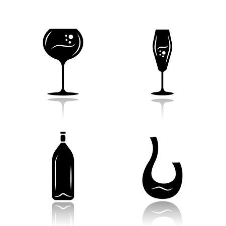 Wine drop shadow black glyph icons set. Different types of wineglasses. Decanter, bottle. Aperitif drink, party cocktail, bar alcohol beverage. Isolated vector illustrations