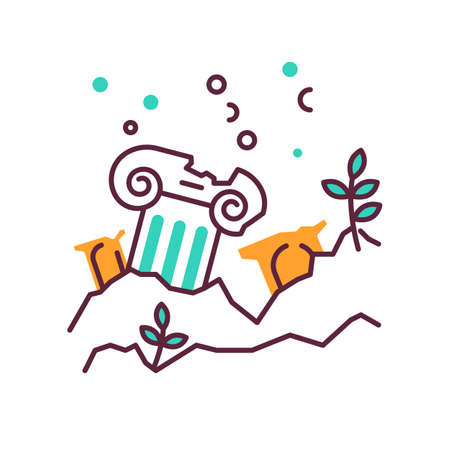 Lost city color icon. Ancient ruins in ocean. Columns underwater. Damaged pillar on sea bottom. Broken temple. Archeological discovery. Marine lost city exploration. Isolated vector illustration