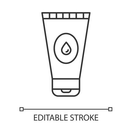 Water-based lubricant linear icon. Male, female product for safe sex. Gel, lube. Product for intimate hygiene. Thin line illustration. Contour symbol. Vector isolated outline drawing. Editable stroke Ilustrace