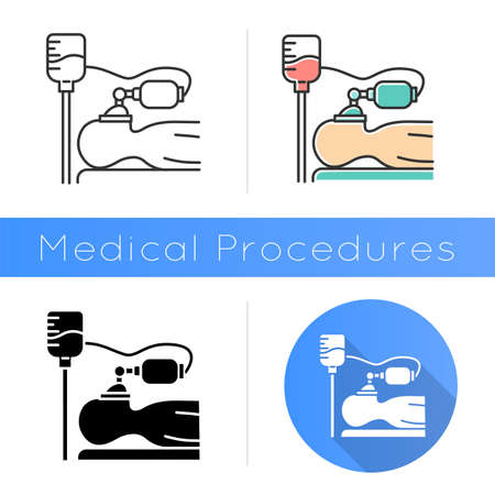 Anesthesia icon. Medical procedure. Apnea stage. Liquid induction. Patient unconscious. Dropper. Disease treatment, illness aid. Flat design, linear and color styles. Isolated vector illustrations