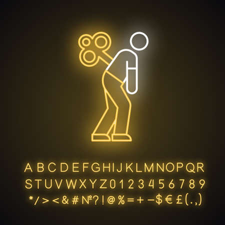 Fatigue neon light icon. Tired man. Overworked person. Common cold symptom. Chronic depression. Unhappiness, frustration. Glowing sign with alphabet, numbers and symbols. Vector isolated illustration Vettoriali