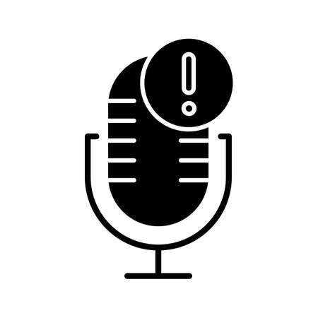 Microphone technical error glyph icon. Sound recorder connection problem. Voice control mistake. Recording equipment. Silhouette symbol. Negative space. Vector isolated illustration