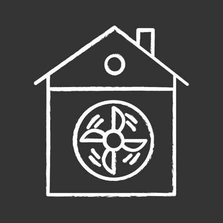 Hausbelüftung Kreidesymbol. Konditionierung nach Hause. Reinigen Sie Keime und Mikroben. Staubbelüftungssystem. Ventilator für klare Luft. Lüftungsöffnung für zu Hause. Heimischer Fan. Isolierte Vektortafelillustration Vektorgrafik