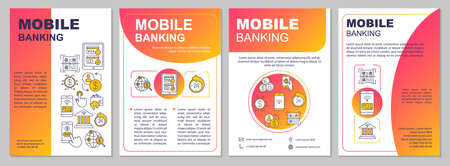 Mobile banking brochure template. Online money payments. Flyer, booklet, leaflet print, cover design with linear icons. Vector page layouts for magazines, annual reports, advertising posters