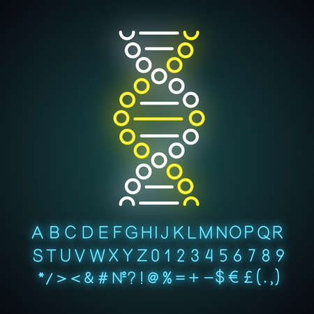 DNA spiral neon light icon. Connected dots, lines. Deoxyribonucleic, nucleic acid helix. Molecular biology. Genetic code. Glowing sign with alphabet, numbers and symbols. Vector isolated illustration