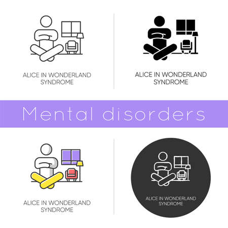 Alice in wonderland syndrome icon. Visual perception. Size distortion. Dysmetropsia. Impaired vision. Rare mental disorder. Flat design, linear and color styles. Isolated vector illustrations