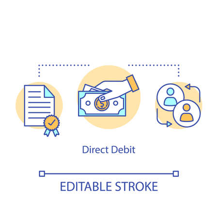 Direct debit concept icon. Money withdrawal idea thin line illustration. Finacial transaction. Online banking operation. Payment method. Vector isolated outline drawing. Editable stroke