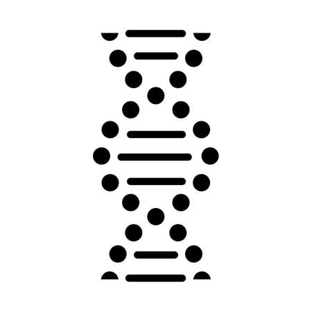 DNA spiral glyph icon. Connected dots, lines. Deoxyribonucleic, nucleic acid helix. Chromosome. Molecular biology. Genetic code. Silhouette symbol. Negative space. Vector isolated illustration