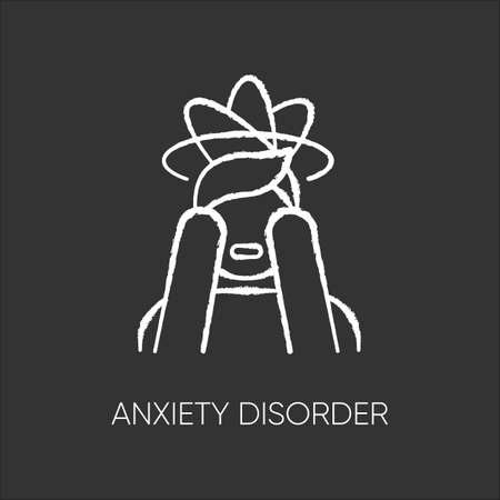 Anxiety disorder chalk icon. Fear and worry. Depressed man. Panic attack. Distress. Headache, migraine. Confused thoughts. Mental problem. Stress and tension. Isolated vector chalkboard illustration
