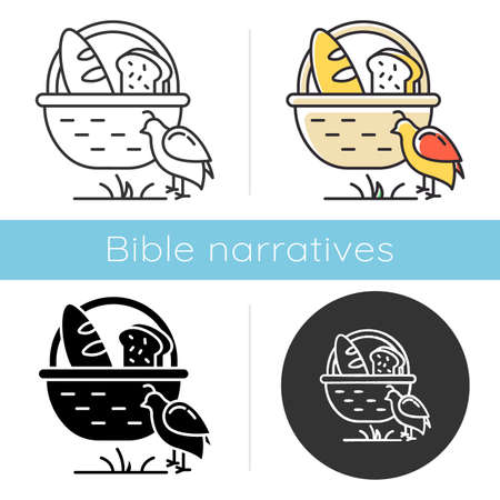 Manna and quail Bible story icon. Bread in basket. Religious legend. Christian religion, holy book scene plot. Biblical narrative. Glyph, chalk, linear and color styles. Isolated vector illustrations