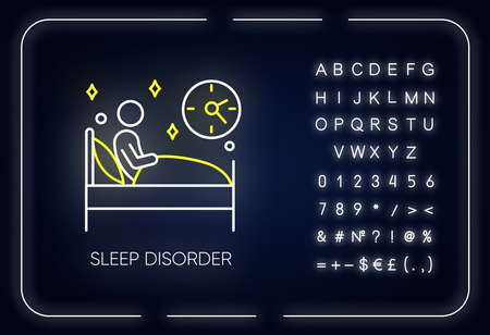 Sleep deprivation neon light icon. Insomnia. Man in bed. Awake at night. Disturbed sleep. Dyssomnia. Mental disorder. Glowing sign with alphabet, numbers and symbols. Vector isolated illustration
