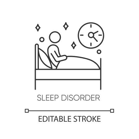 Sleep deprivation linear icon. Insomnia. Nightmare and night terror. Dyssomnia. Mental disorder. Thin line illustration. Contour symbol. Vector isolated outline drawing. Editable stroke 向量圖像