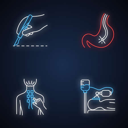 Medical procedure neon light icons set. Surgery. Endoscopy and gastroscopy. Digestive tract, stomach check. Physiotherapy. Anesthesia. Clinical aid. Glowing signs. Vector isolated illustrations